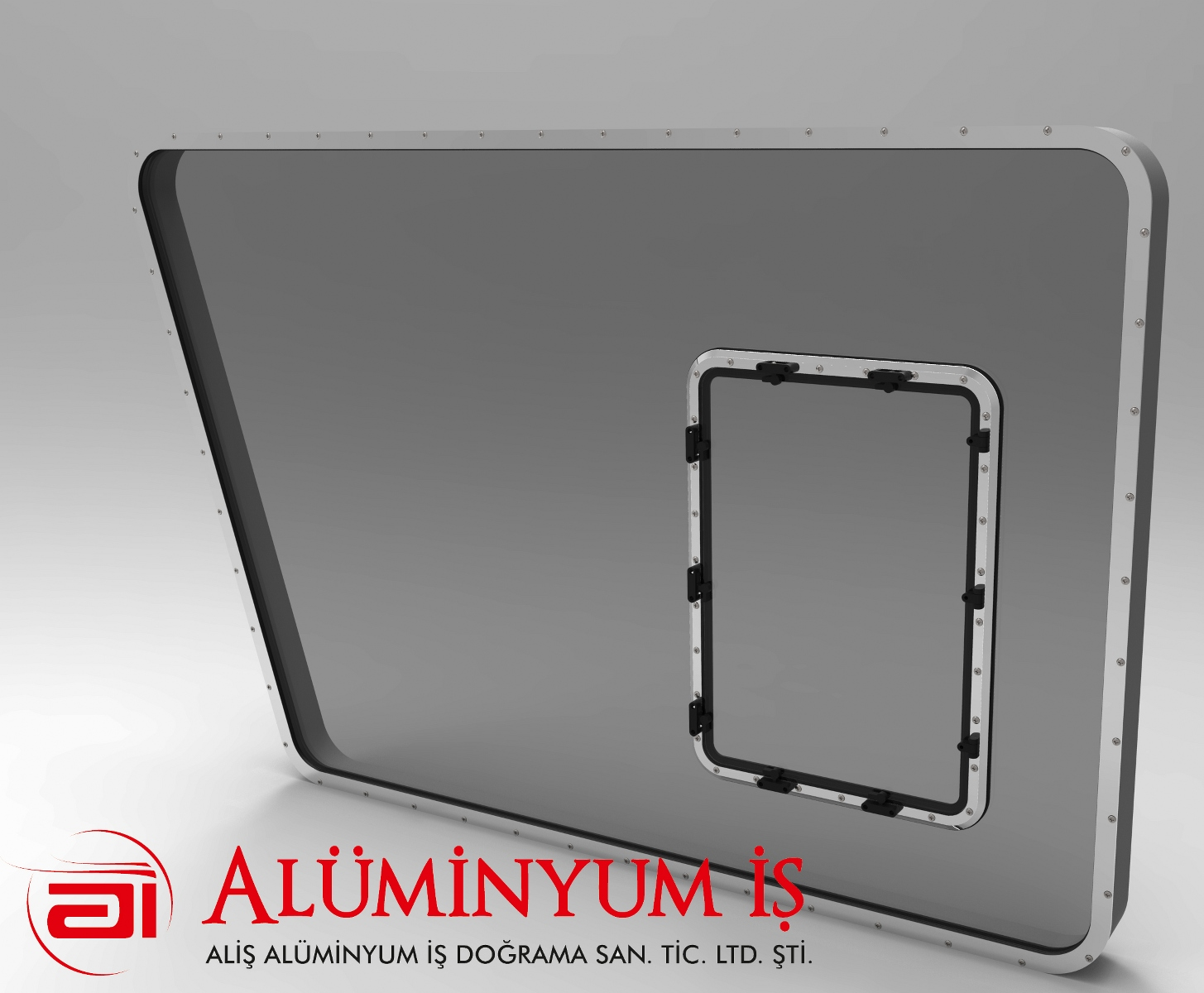 ALUMINUM FRAME IN THE MIDDLE OF THE GLASS